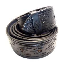 Kožený dámský opasek zdobený - vzor plamen 30 mm