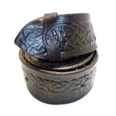 Kožený dámský opasek zdobený - keltský vzor 30 mm