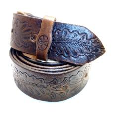 Kožený dámský opasek zdobený -  vzor dubový list 30 mm
