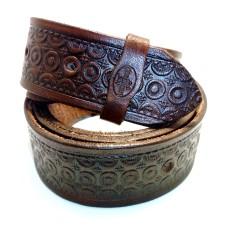 Kožený dámský opasek zdobený - vzor geometrické tvary 30 mm